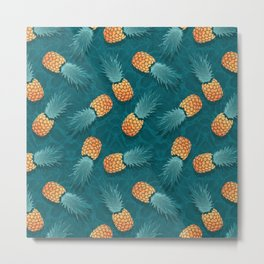 Pineapples swimmers I Metal Print