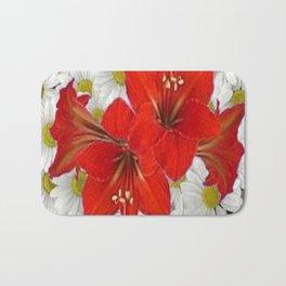 RED AMARYLLIS WHITE DAISIES FLORAL ART Bath Mat