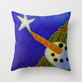 Snowman and Star Abstract Digital Painting  Throw Pillow