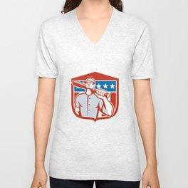 American Baseball Batter Bat Shield Retro Unisex V-Neck