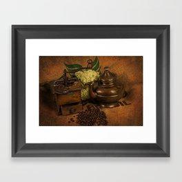 Vintage coffee grinder and pot Framed Art Print