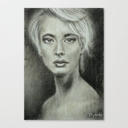 Girl portrait Women's feelings. Charcoal on paper. Size: 63x42cm Canvas Print