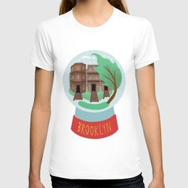 Brooklyn snow globe, souvenir, new york city, nyc, ny, brownstone T-shirt