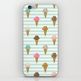 ice cream cones flavors mint stripes food fight apparel and gifts iPhone Skin