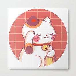 Maneki-Neko Circle Metal Print