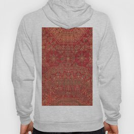 Bohemian Medallion II // 15th Century Old Distressed Red Green Colorful Ornate Accent Rug Pattern Hoody