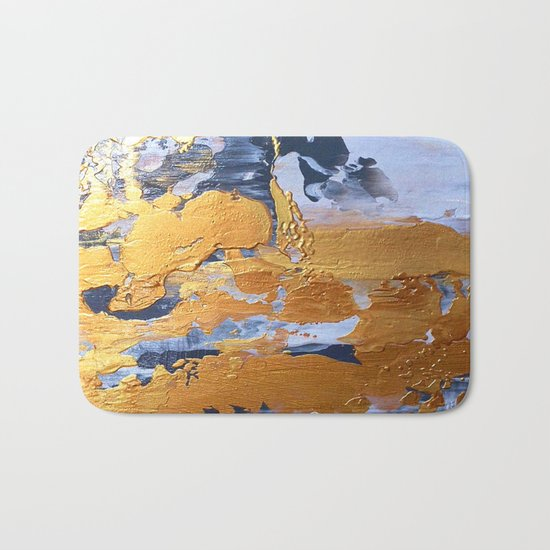 Gold in the ice Bath Mat