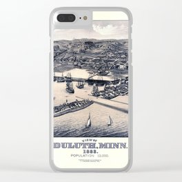 Map Of Duluth 1883 Blue Clear iPhone Case