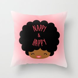 Nappy and Happy Afro Hair Throw Pillow