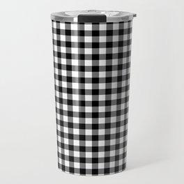 Gingham Black and White Pattern Travel Mug