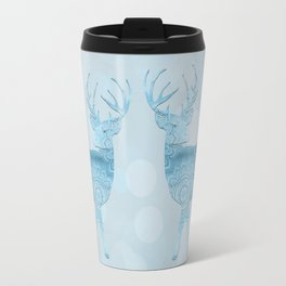 Aqua Blue Christmas Deer Travel Mug