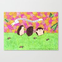 patriarchy Canvas Prints featuring Hedgehogs Smash the Patriarchy! by PlatypusSecretary