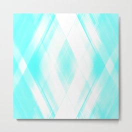 Light warm triangular strokes of intersecting sharp lines with azure triangles and stripes. Metal Print