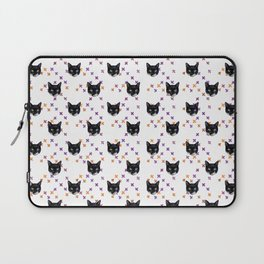 Cute Tuxedo Cat Faces with Pink Cross Bandaids Laptop Sleeve