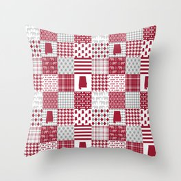 Alabama bama crimson tide cheater quilt state college university pattern footabll Throw Pillow