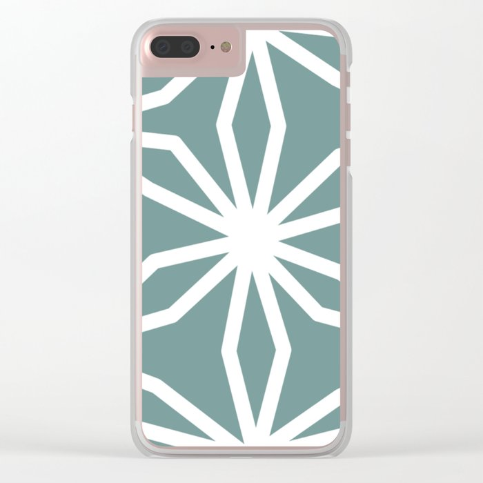 CUBIC FLOWER PATTERN - blue Clear iPhone Case