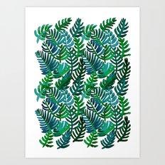 Round Palm Blue Green Art Print