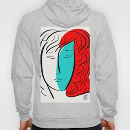 Turquoise Pop Girl with red hair Graphic Minimal art Hoody