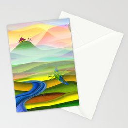 Fantasy valley naive artwork Stationery Cards