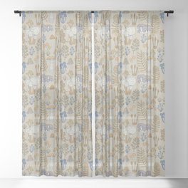 Wild Mushrooms in Blue Sheer Curtain