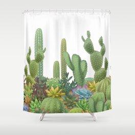 Milagritos Cacti on white background. Shower Curtain