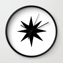 Black Eight Pointed Star Wall Clock