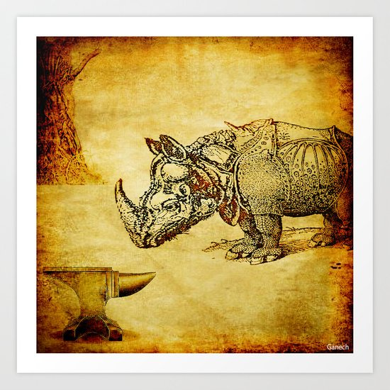 The anvil and the rhinoceros Art Print