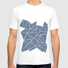 Abstract Mountain Navy Mens Fitted Tee White SMALL