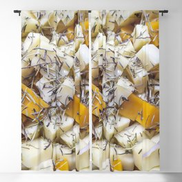 Pieces of feta and greek cheese Blackout Curtain