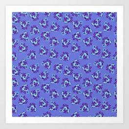 Bright Vintage Floral in Blue Art Print