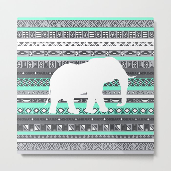 Tiffany Aztec White Elephant Pattern Design Metal Print