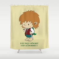 hobbit Shower Curtains featuring I'm not short, I'm a hobbit by mangulica illustrations
