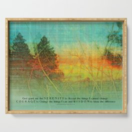 Serenity Prayer Colorful Trees Serving Tray