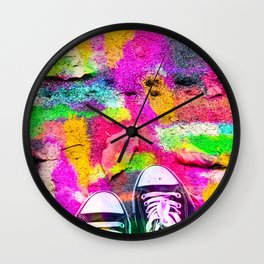 canvas shoes with colorful painting abstract in pink yellow green blue Wall Clock
