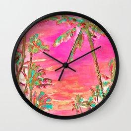 Retro Hawaiian Beach, Mauna Lani Pink Wall Clock