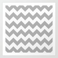 Chevron (in Grey) Art Print