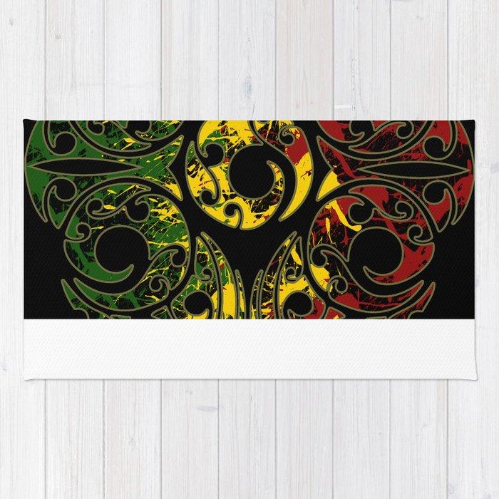 Rasta Colors On Maori Patterns Rug