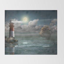 Lighthouse Under Back Light Throw Blanket