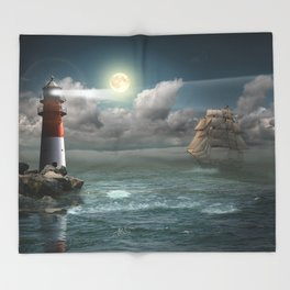 Lighthouse Under Back Light Throw Blanket