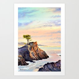 Pebble Beach Lone Cypress Tree Art Print