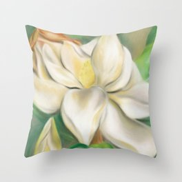 Southern Magnolia Blossom and Bud Throw Pillow