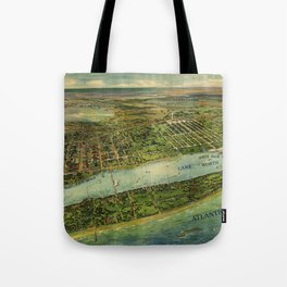 Panoramic view of West Palm Beach, North Palm Beach and Lake Worth, Florida (1915) Tote Bag