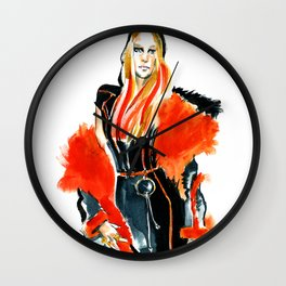 fashion #49: woman in a coat with red fur Wall Clock