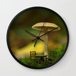 Mushroom With Tiny Table & Chairs... Wall Clock