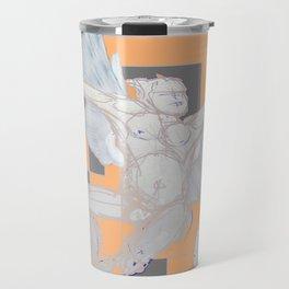 Abstract Angel With Birds Grey Art Travel Mug