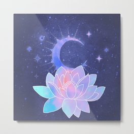 moon lotus flower Metal Print