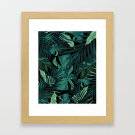 Tropical Jungle Night Leaves Pattern #1 #tropical #decor #art #society6 Framed Art Print