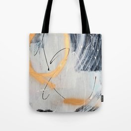Midnight Time Lapse: a minimal, abstract mixed-media piece by Alyssa Hamilton Art in Gold, Black Tote Bag