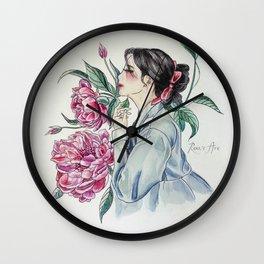 Peonies (Hanbok girls) Watercolor Wall Clock