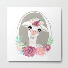 Llama Portrait Metal Print